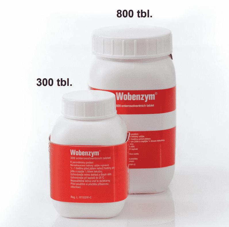 Porovnání velikosti balení Wobenzym 300 a Wobenzym 800
